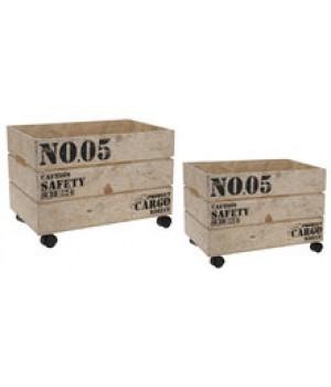 Kist Op Wielen.Set Kisten Op Wieltjes